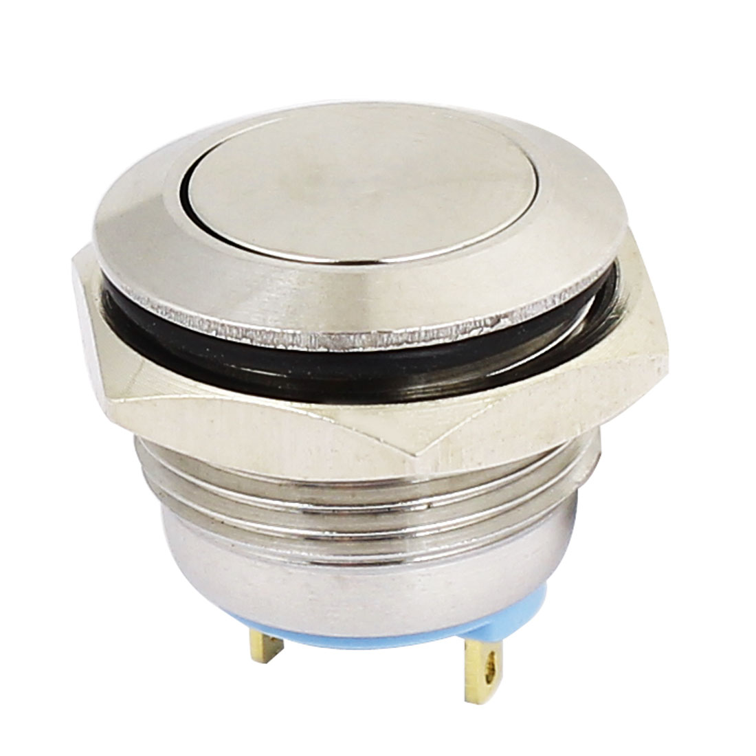 16mm Dia SPST Stainless Steel Momentary Pushbutton Switch Flat Head