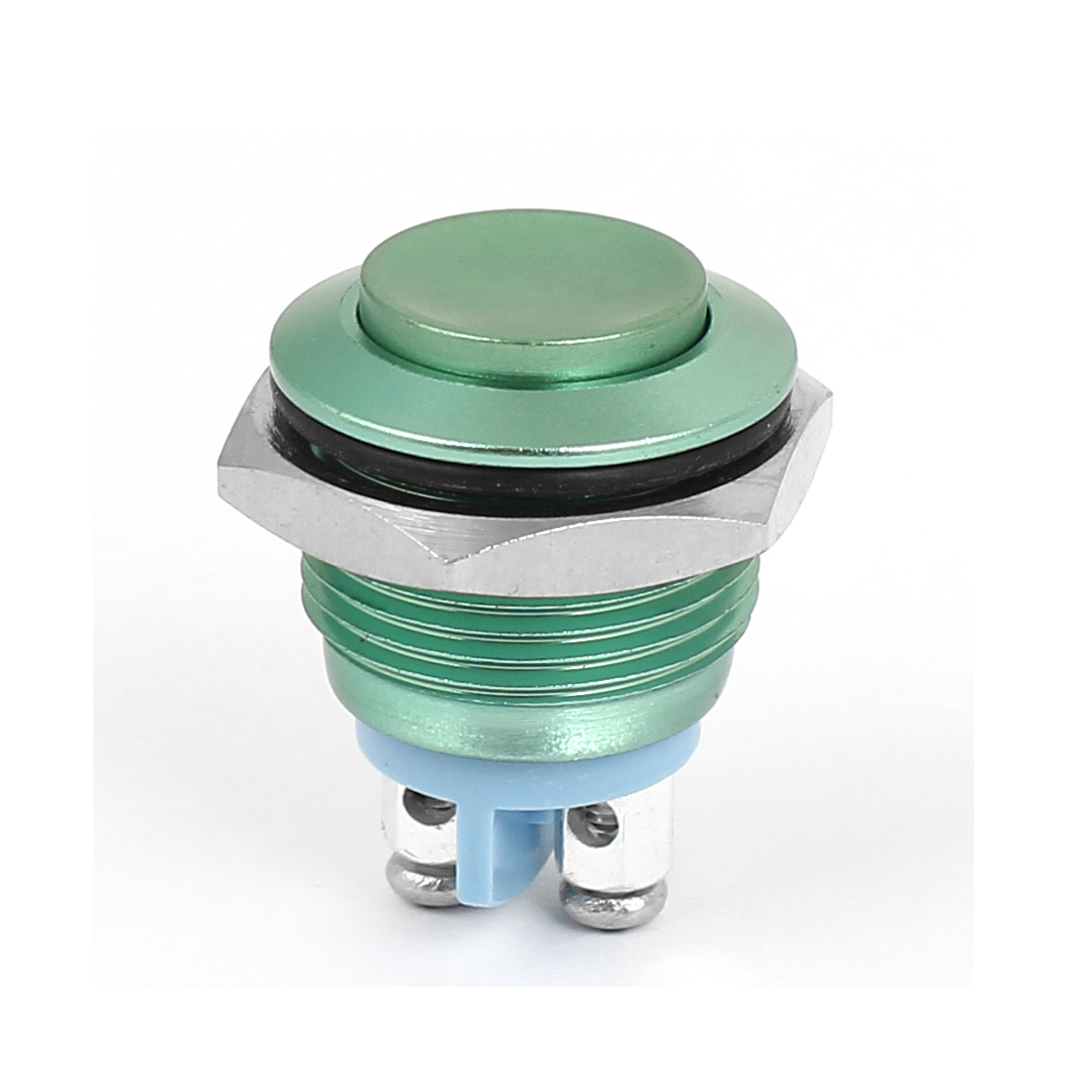 M16 Metal Pushbutton Switch Panel Mount Momentary Type Green Raised Head
