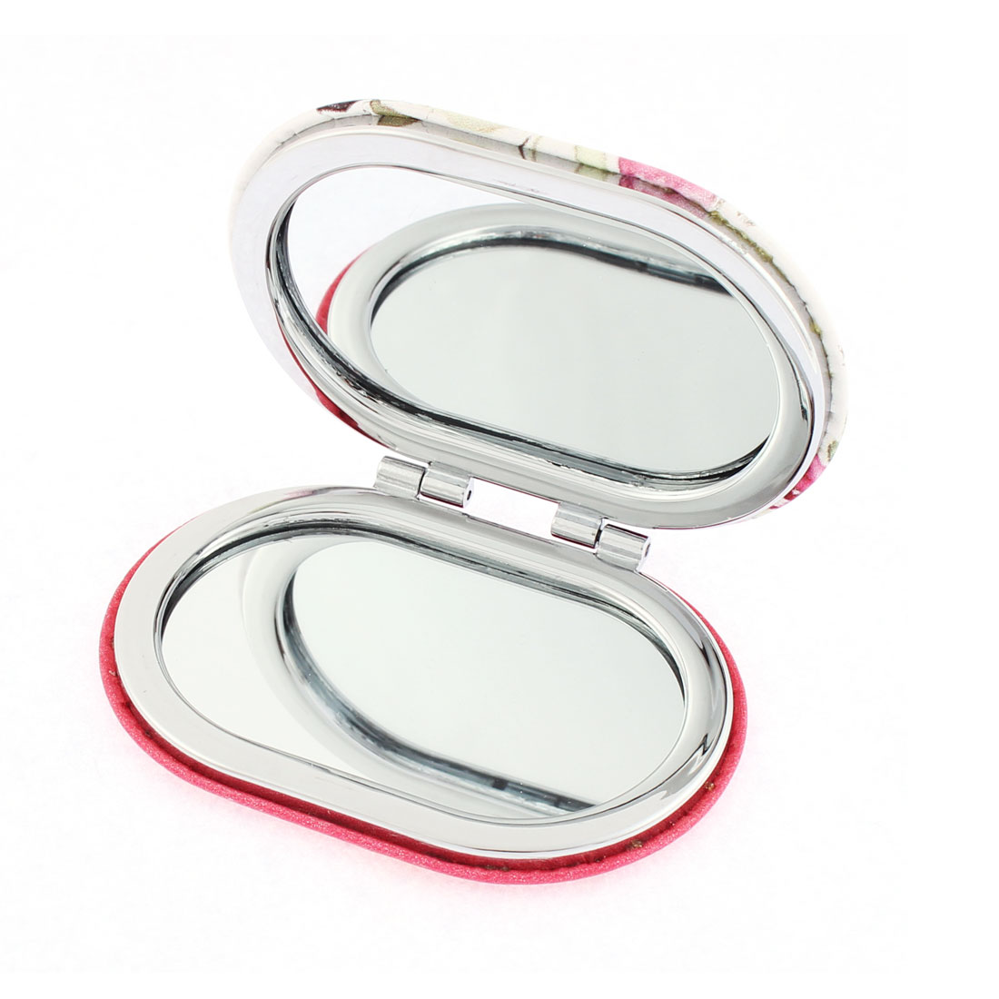 Oval Shaped Dual Side Magnify Folded Purse Pocket Cosmetic Compact Mirror