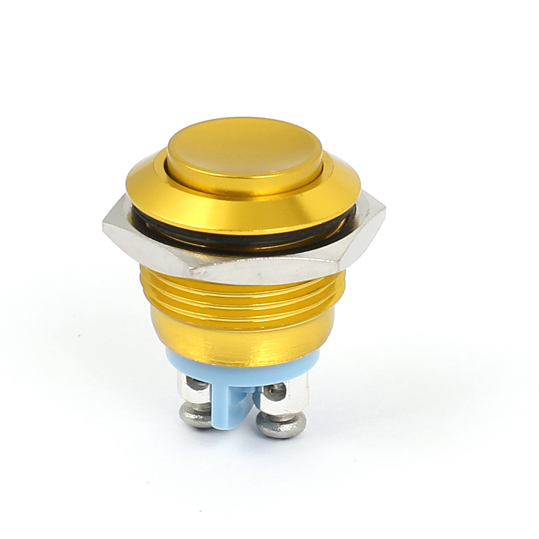 M16 Metal Pushbutton Switch Panel Mount Momentary Type Yellow Raised Head