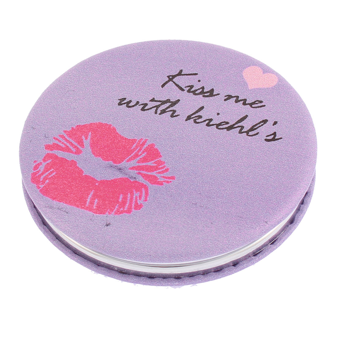 Lady Round Shaped Lip Letter Pattern Folding Pocket Cosmetic Compact Mirror