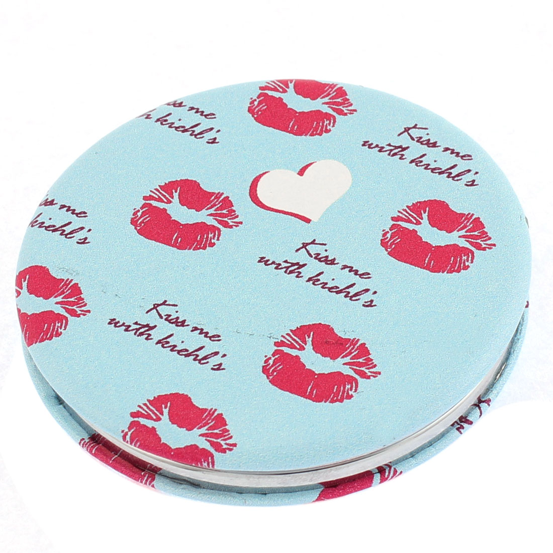 Round Design Lip Letter Print Dual Sided Folding Cosmetic Compact Mirror