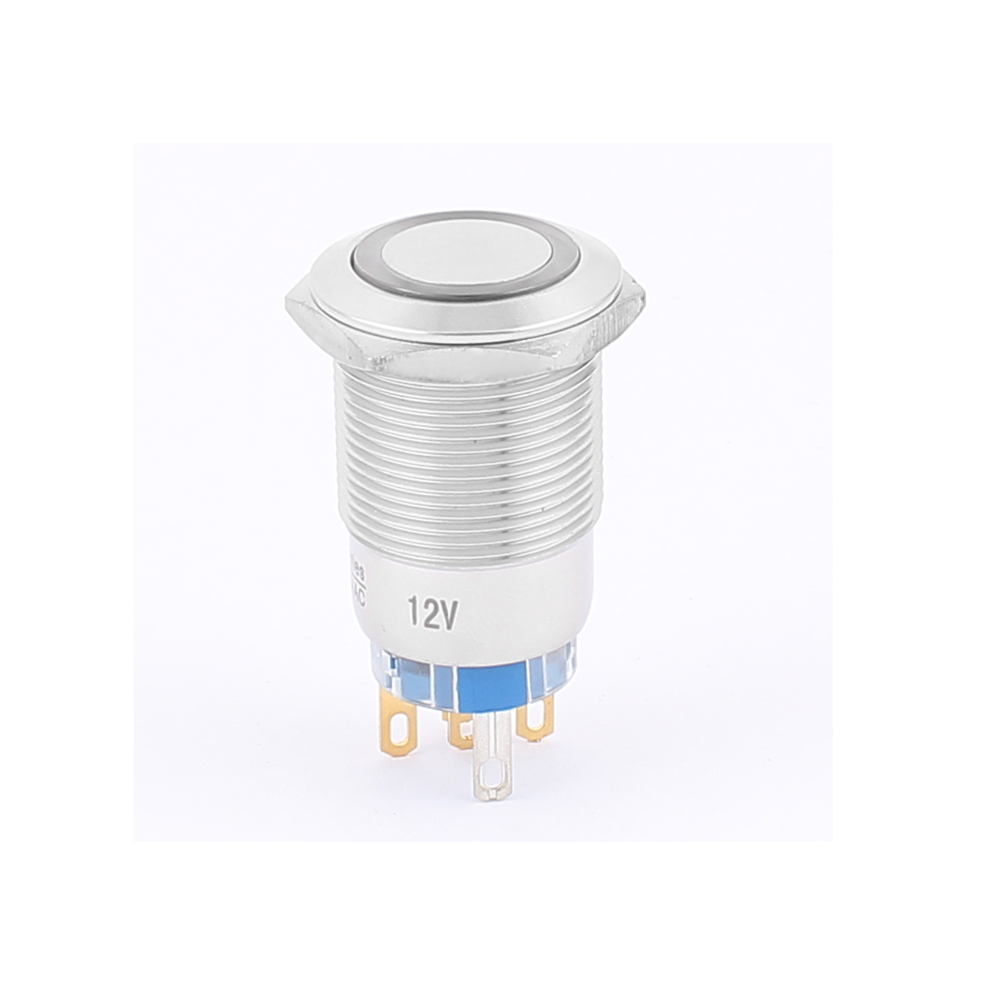 12V 19mm Dia Thread White LED Angle Eyes Latching Metal Pushbutton Switch