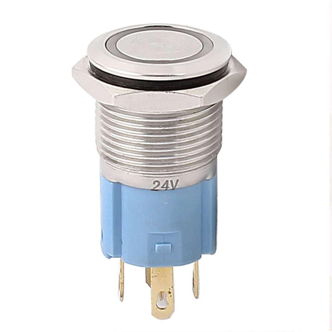 24V 16mm Thread Dia Green LED Angle Eyes Latching Metal Pushbutton Switch