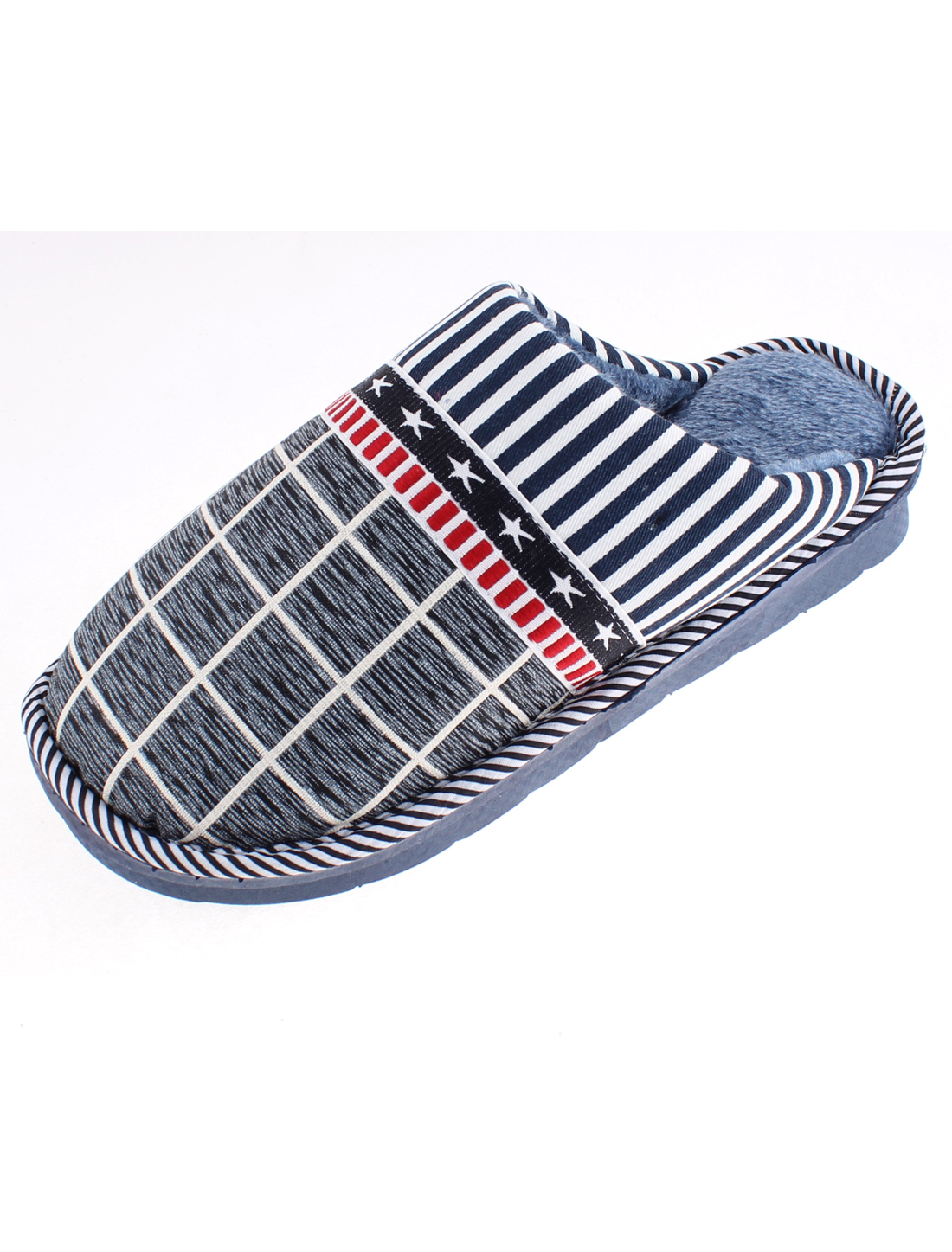 Grid Stars Stripe Pattern Casual Warmer Slippers for Women Blue US 9.5