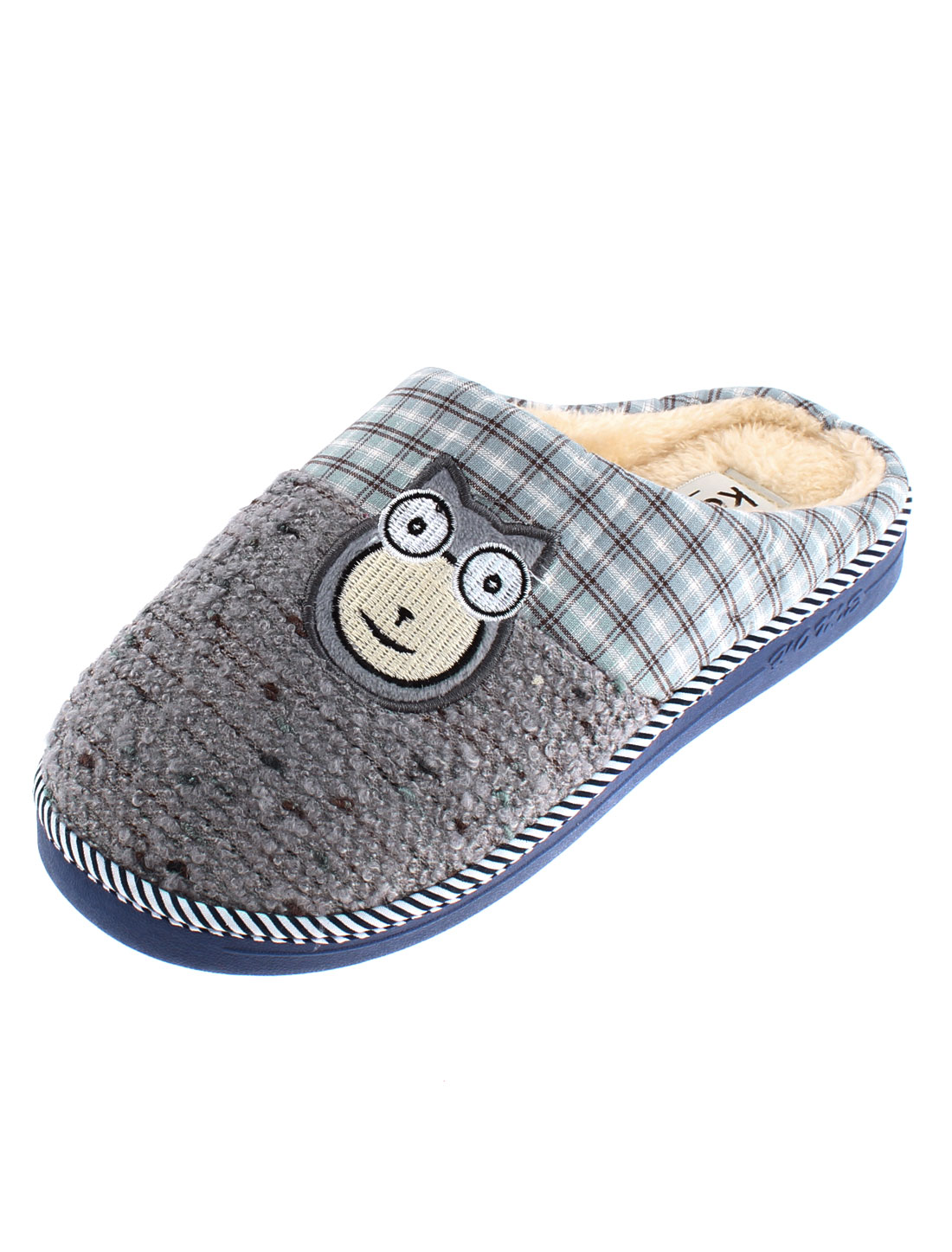 Home Cat Embroidery Anti Slip Casual Warmer Slippers for Women Gray US 8.5