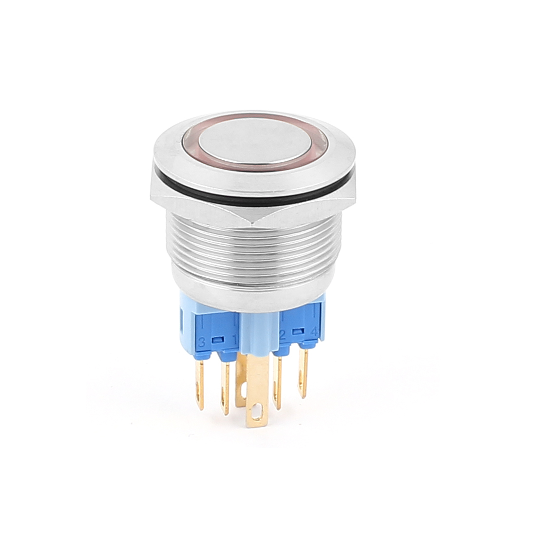 220V 22mm Dia Thread Red LED Angle Eyes Momentary Metal Pushbutton Switch