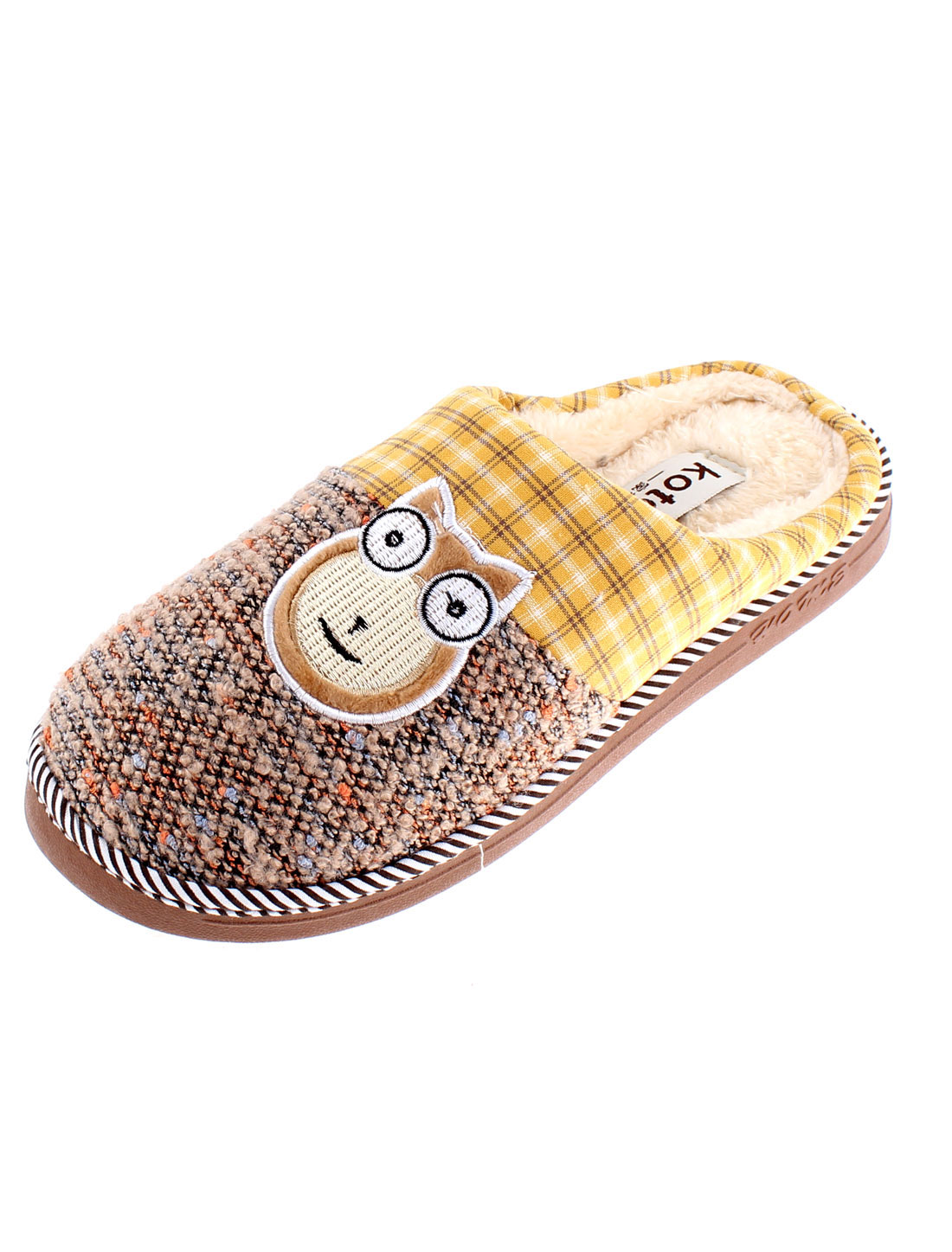 Home Cat Embroidery Anti Slip Warmer Slippers for Women Brown US 9.5