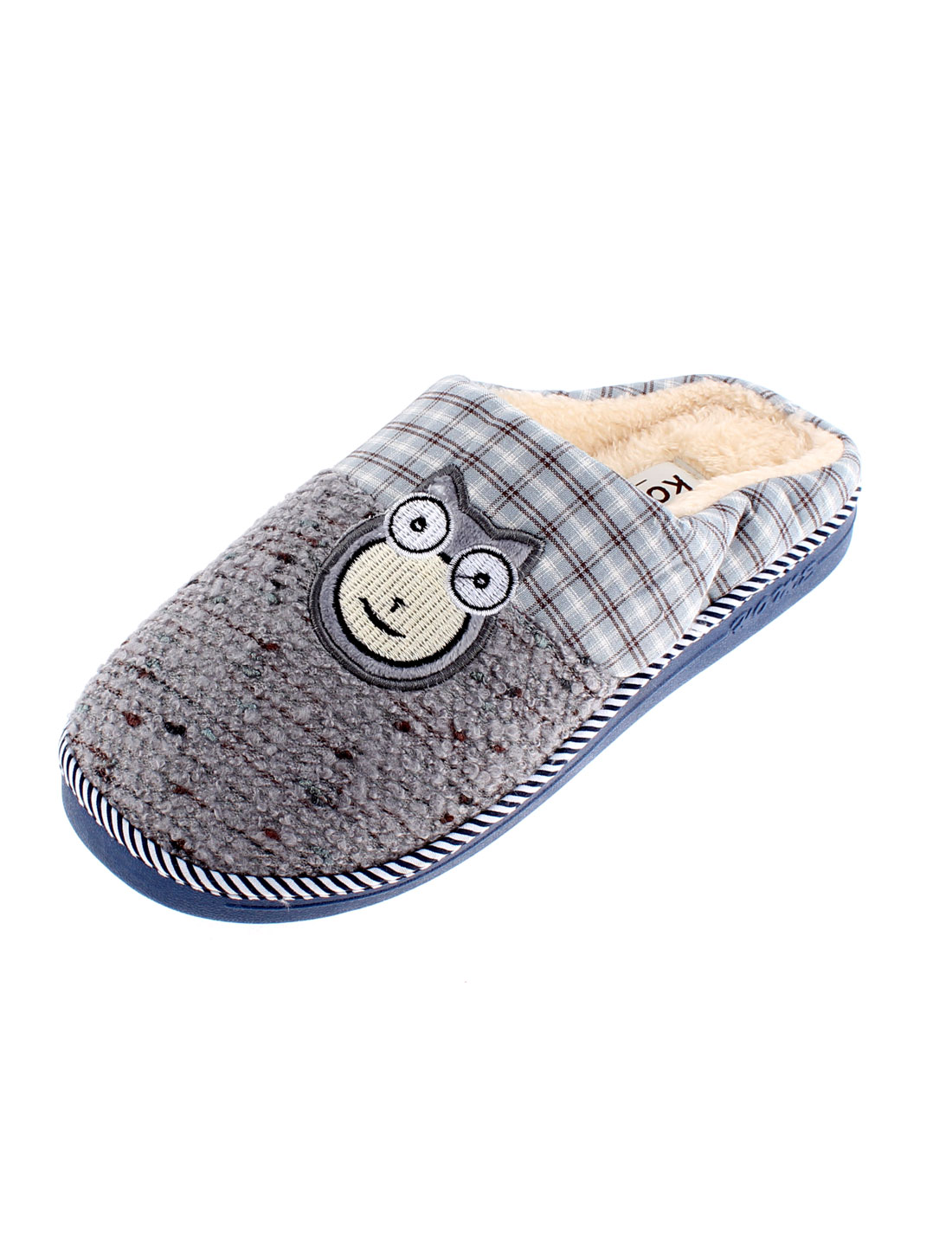 Home Cat Embroidery Anti Slip Warmer Slippers for Women Gray US 9.5
