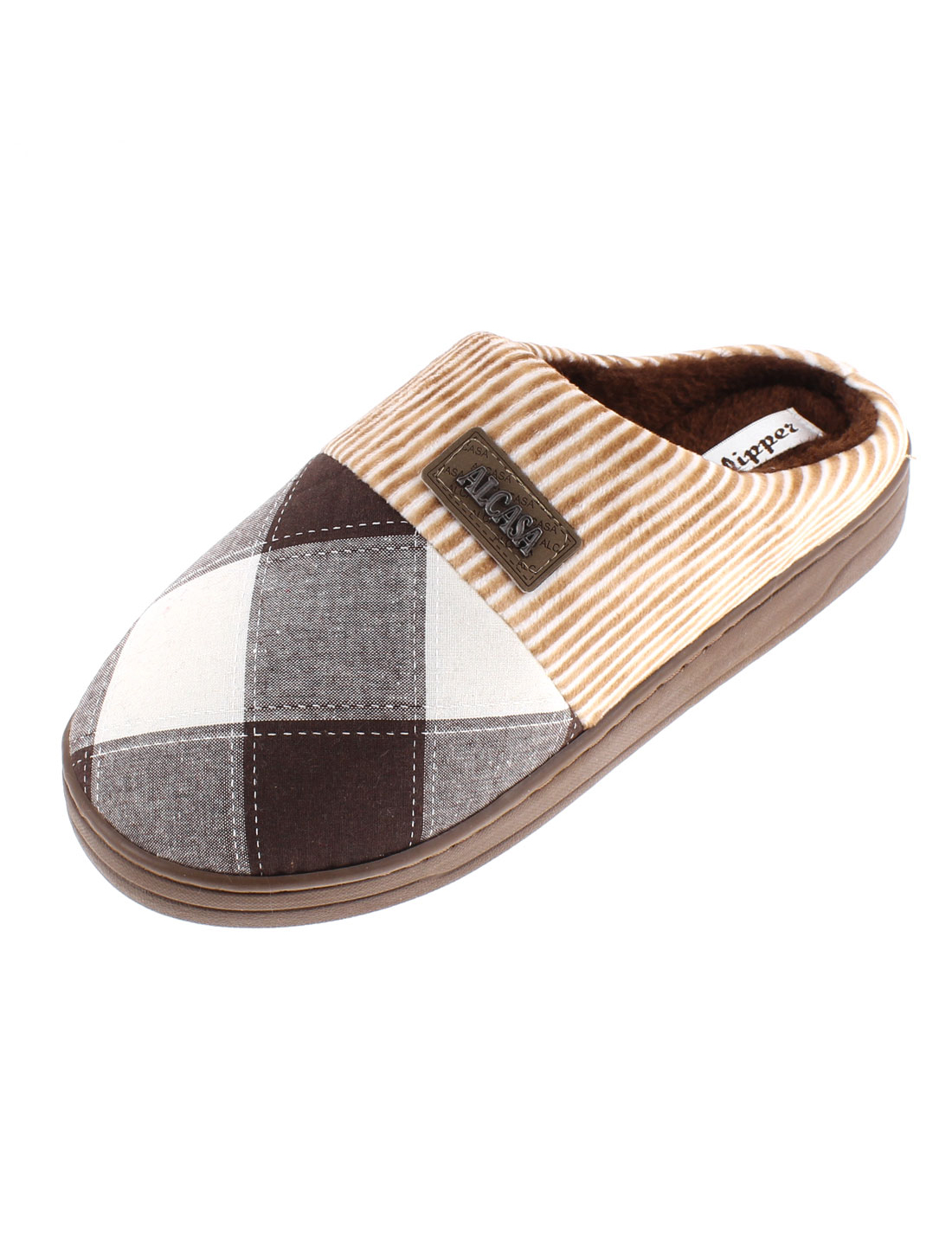 Home Women Grid Pattern Non-skid Sole Warmer Cotton Slippers Chocolate Color US 8.5