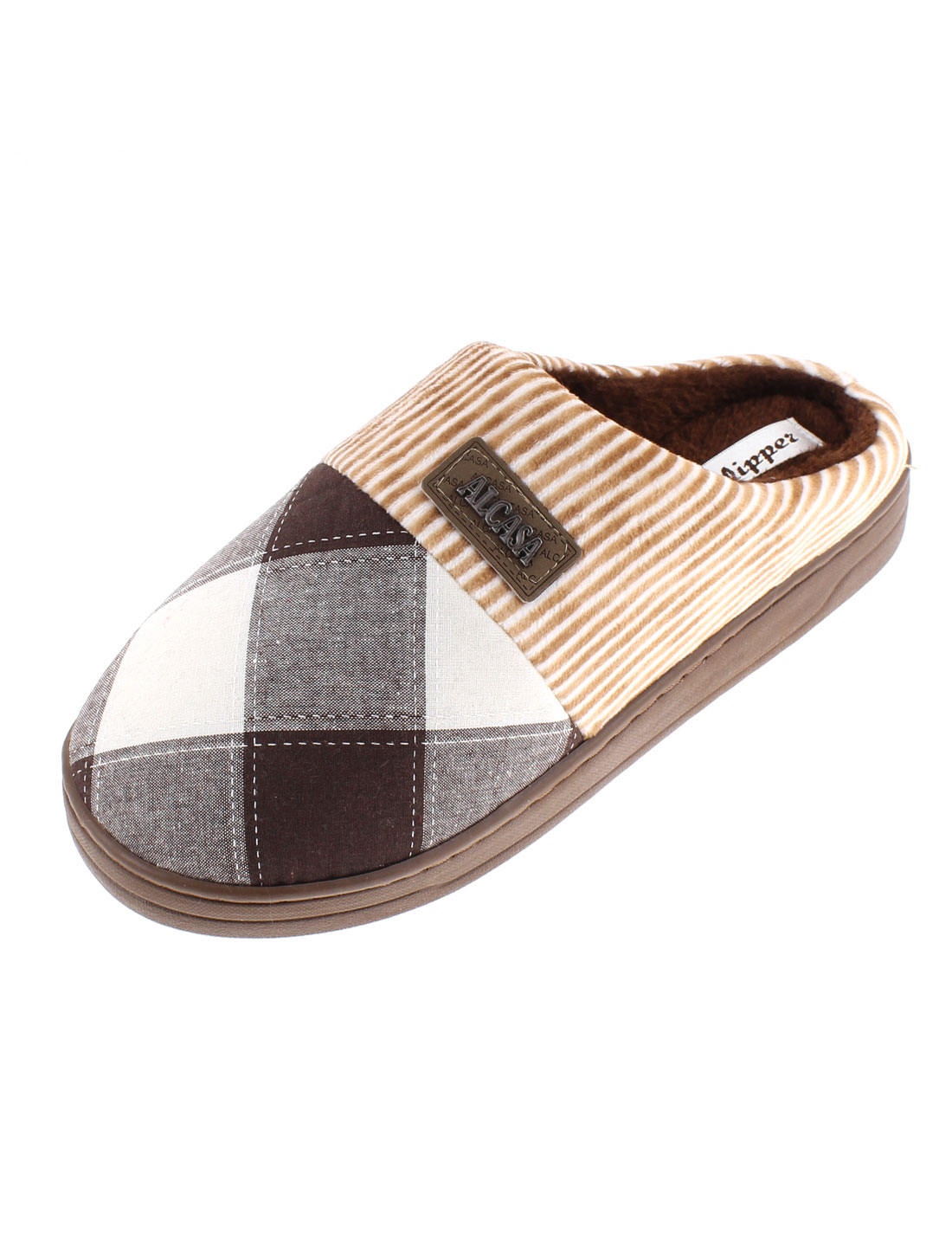 Women Grid Pattern Warmer Cotton Slippers Chocolate Color US 9.5