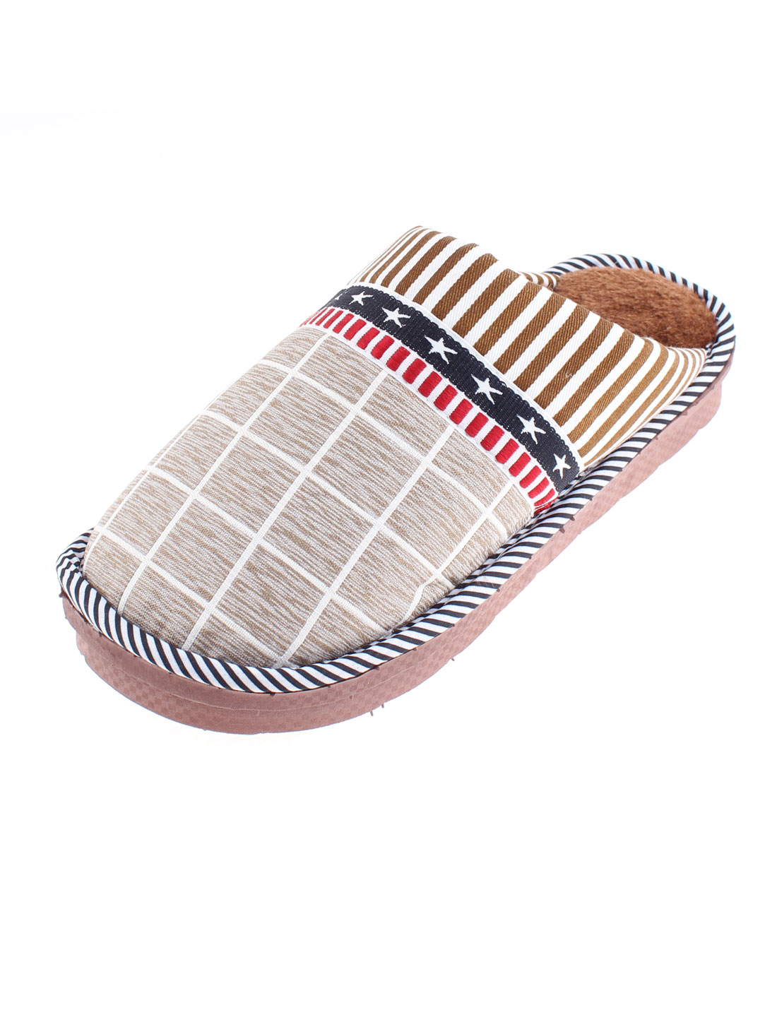 Grid Stripe Pattern Warmer Slippers for Women Chocolate Color US 8.5