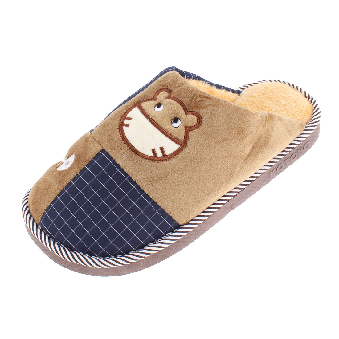 Home Indoor Women Cat Grid Pattern Warmer Cotton Slippers Brown US 9