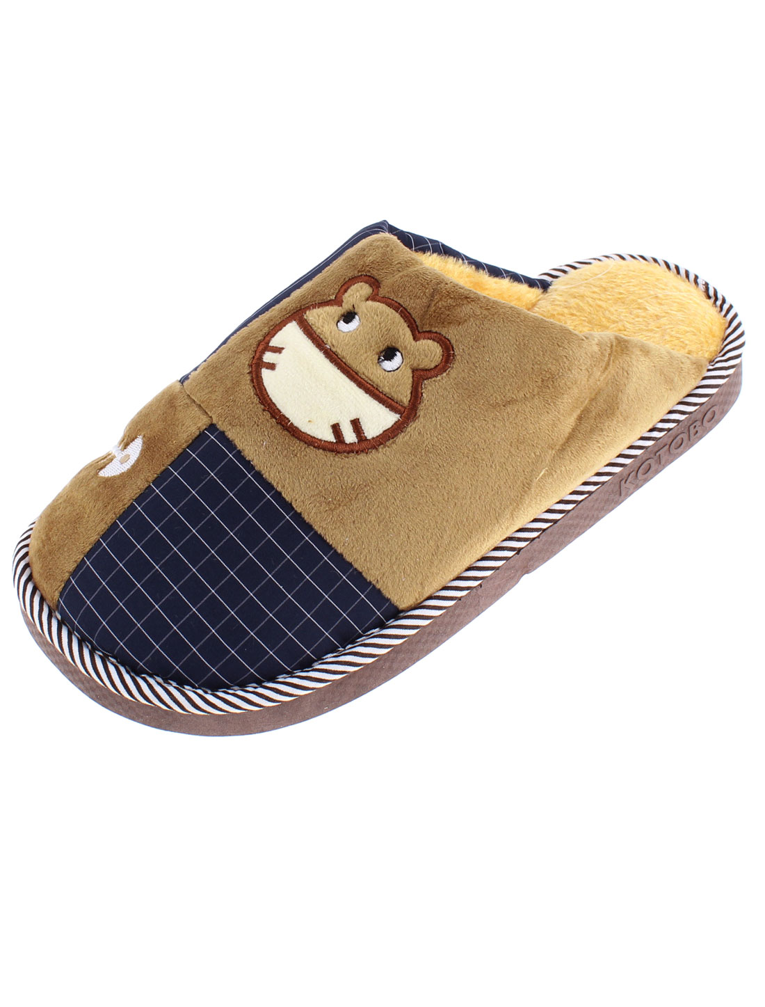 Home Indoor Women Cat Grid Pattern Warmer Cotton Slippers Brown US 10.5