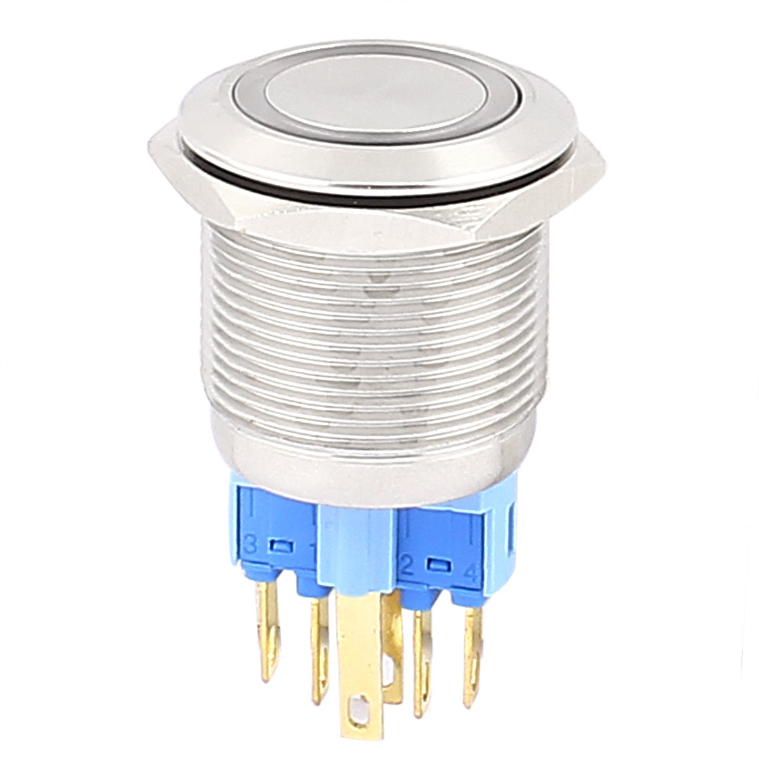 12V 22mm Thread Dia White LED Angle Eyes Latching Metal Pushbutton Switch