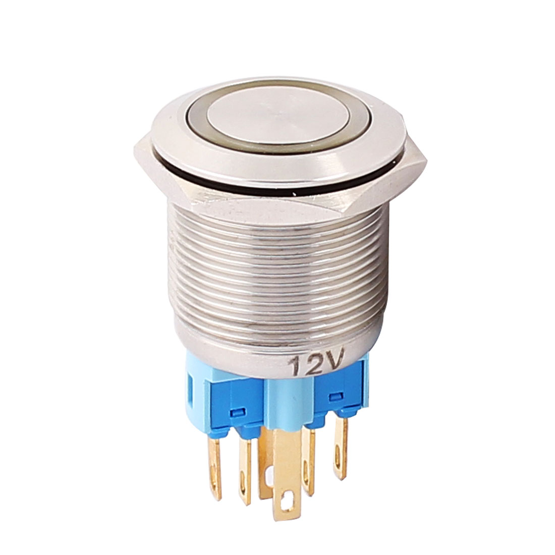12V 22mm Thread Dia Yellow LED Angle Eyes Latching Metal Pushbutton Switch