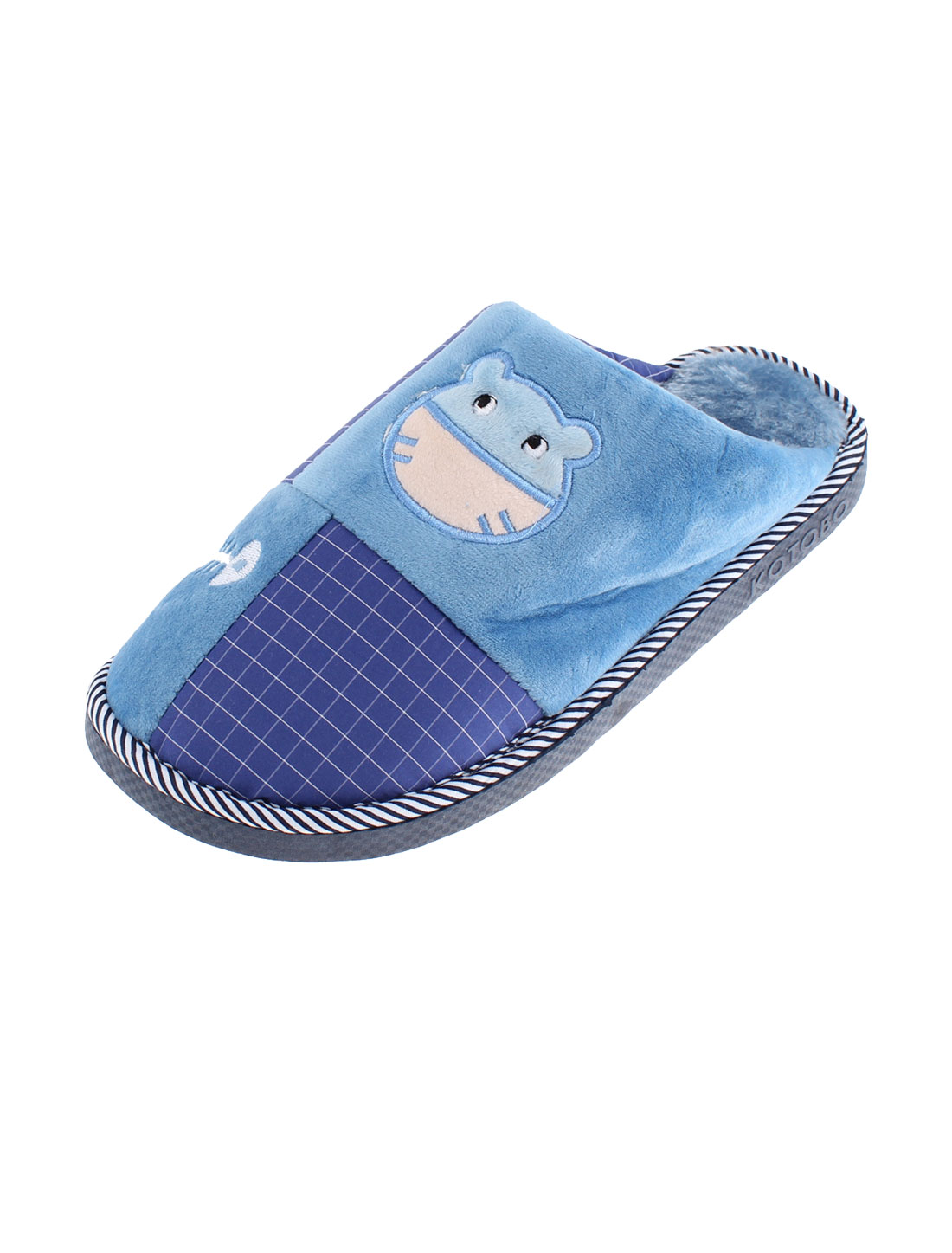 Home Indoor Women Cat Grid Pattern Warmer Cotton Slippers Blue US 10.5