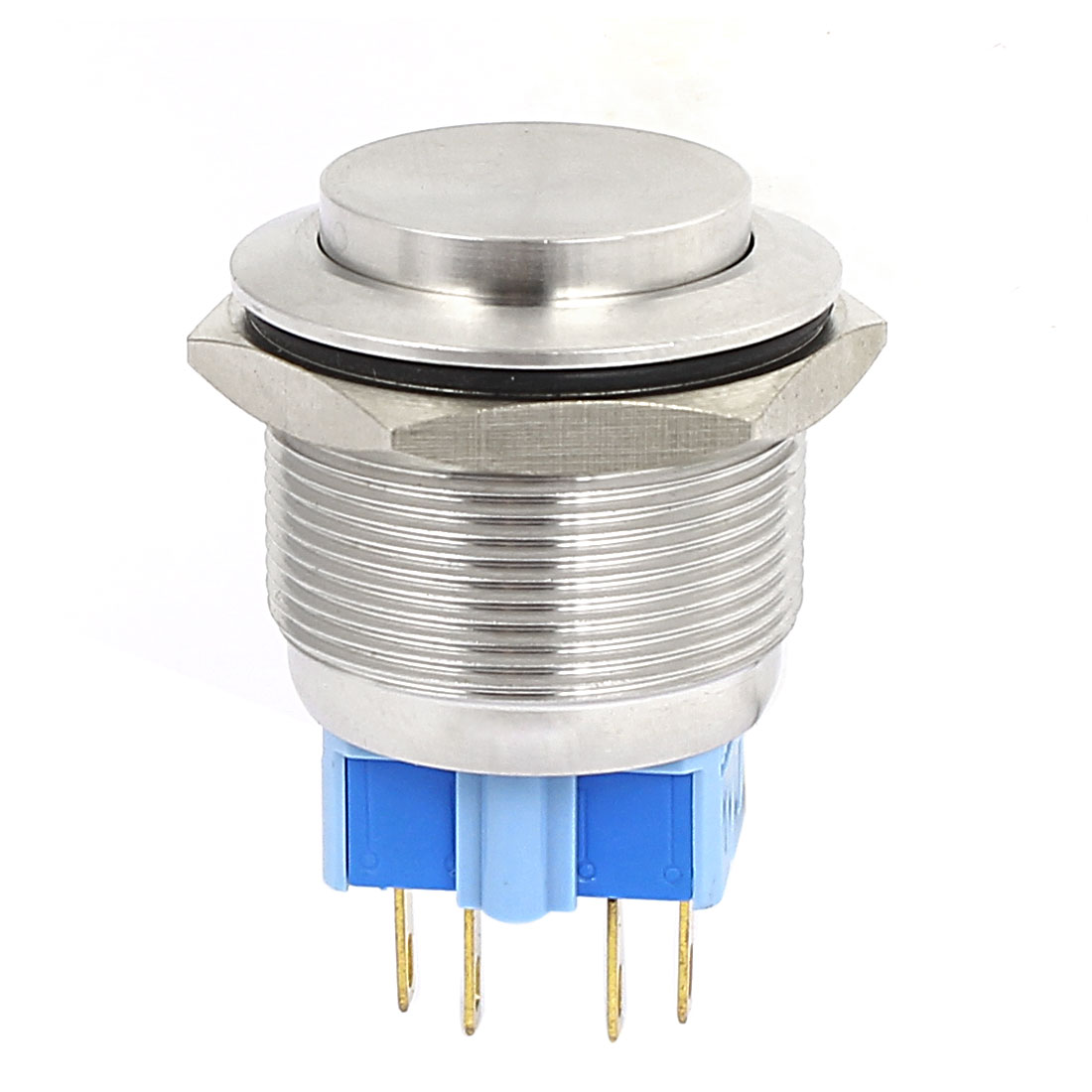 5A 250VAC 25mm DPST Momentary Metal Pushbutton Switch Raised Head Silver Tone