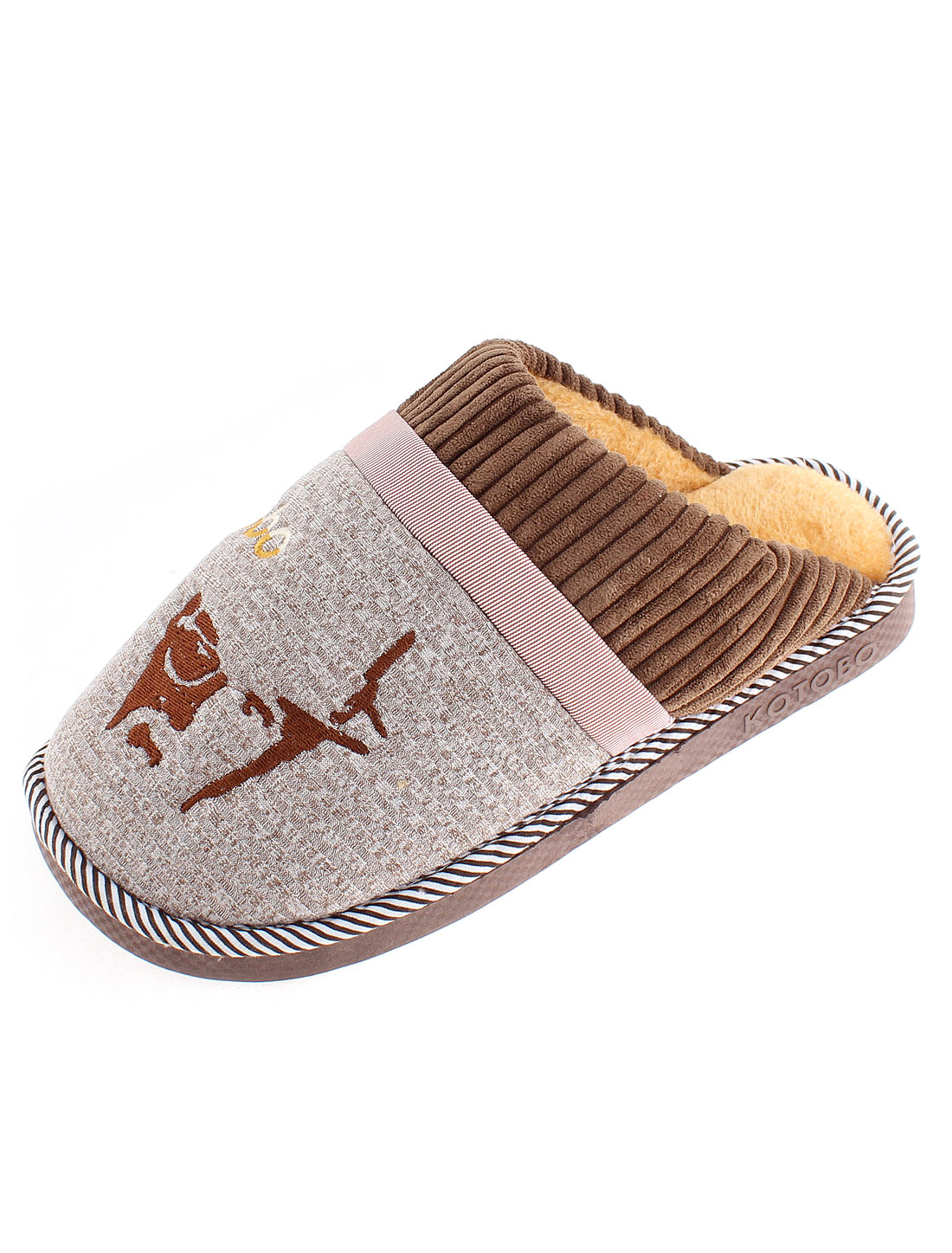 Women Winter Wearing Anti Slip Warmer Cotton Slippers Brown US 8.5