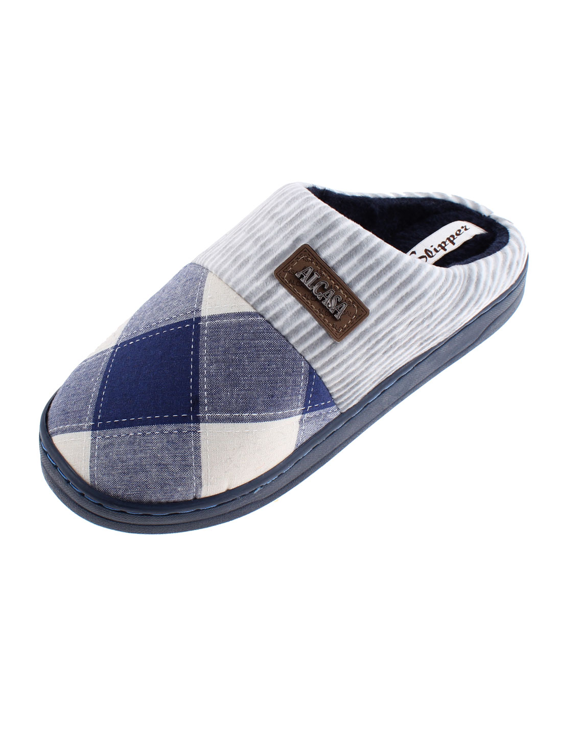 Home Women Grid Pattern Non-skid Sole Warmer Cotton Slippers Blue US 8.5