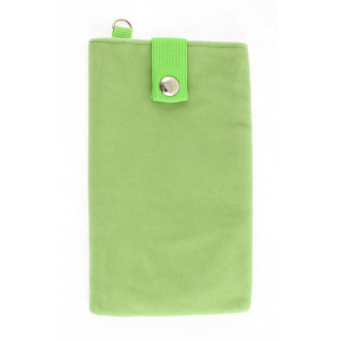 Velvet Magnetic Clasp Button Cell Phone Pouch Sleeve Bag Light Green 16x9.5cm