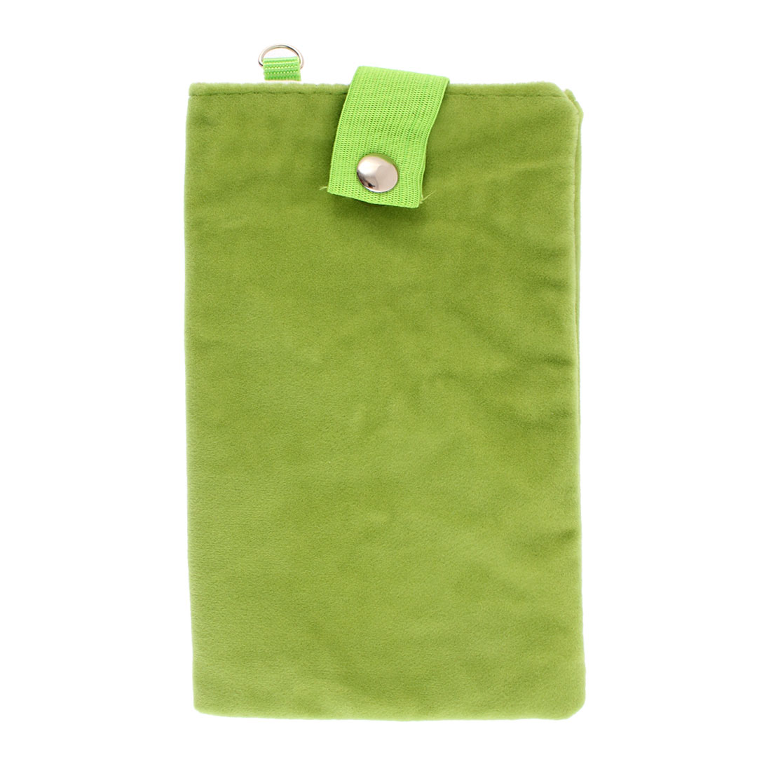Velvet Dual Layer Magnetic Clasp Button Cell Phone Pouch Sleeve Bag Light Green