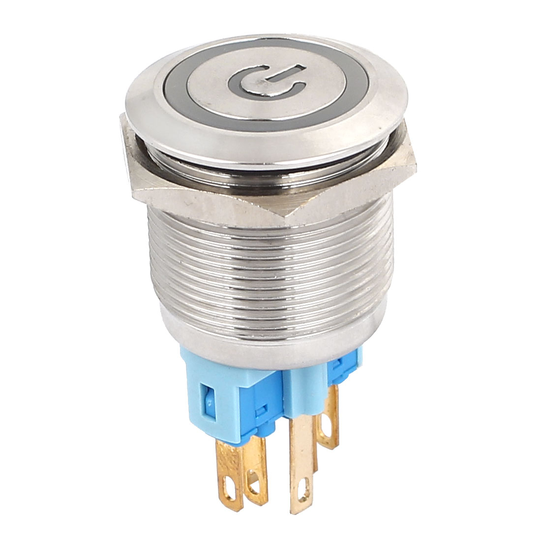24V 22mm Dia Thread Blue LED Lamp Momentary Metal Power Pushbutton Switch