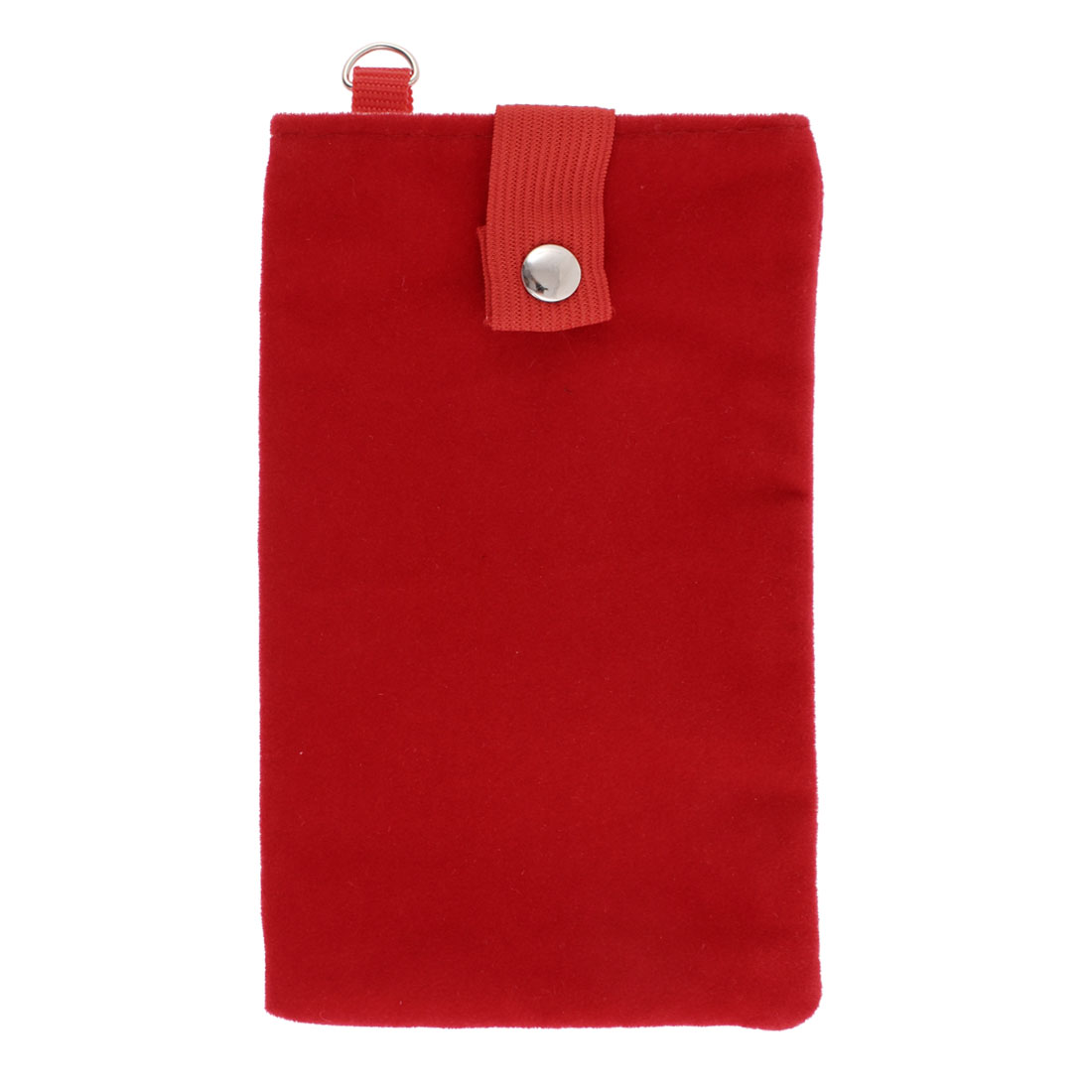 Velvet Magnetic Clasp Button Cell Phone Pouch Sleeve Bag Red 16x9.5cm