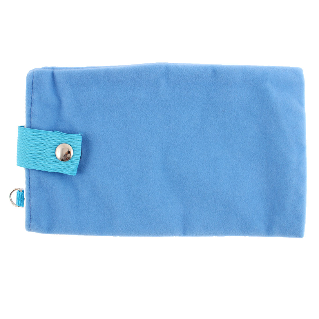 Dual Layer Magnetic Clasp Button Cell Phone Pouch Sleeve Bag Light Blue 18x11cm