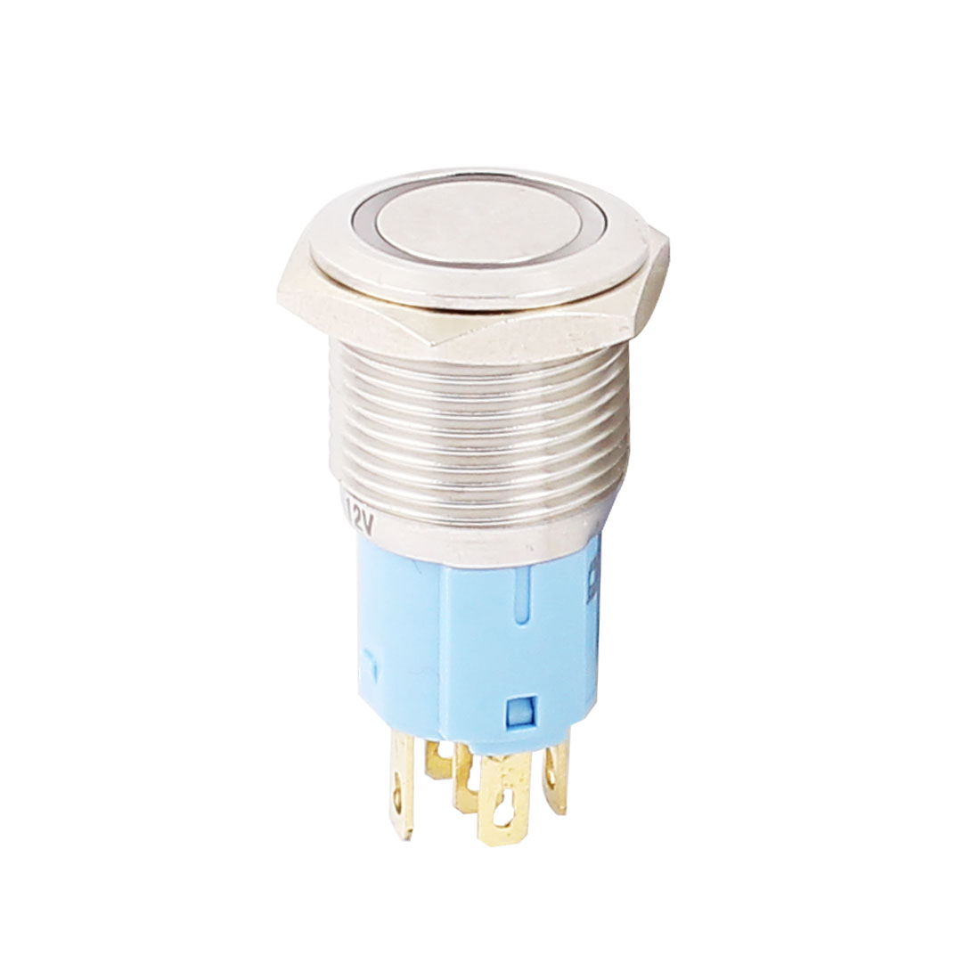 12V 16mm Thread Dia Blue LED Angle Eyes Momentary Metal Pushbutton Power Switch