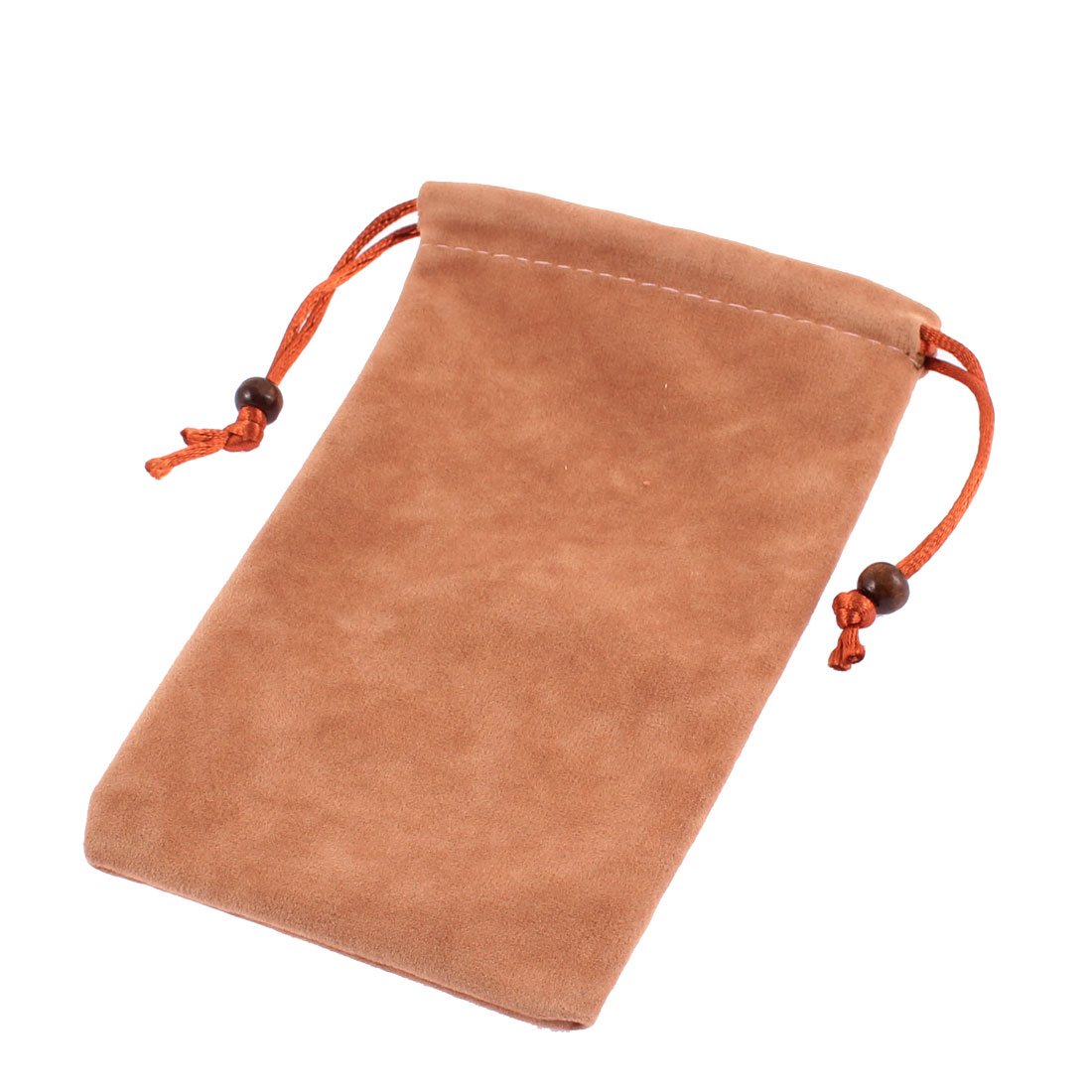Velvet Drawstring Closure Cell Phone Pouch Sleeve Bag Camel 15.5 x 9.5cm