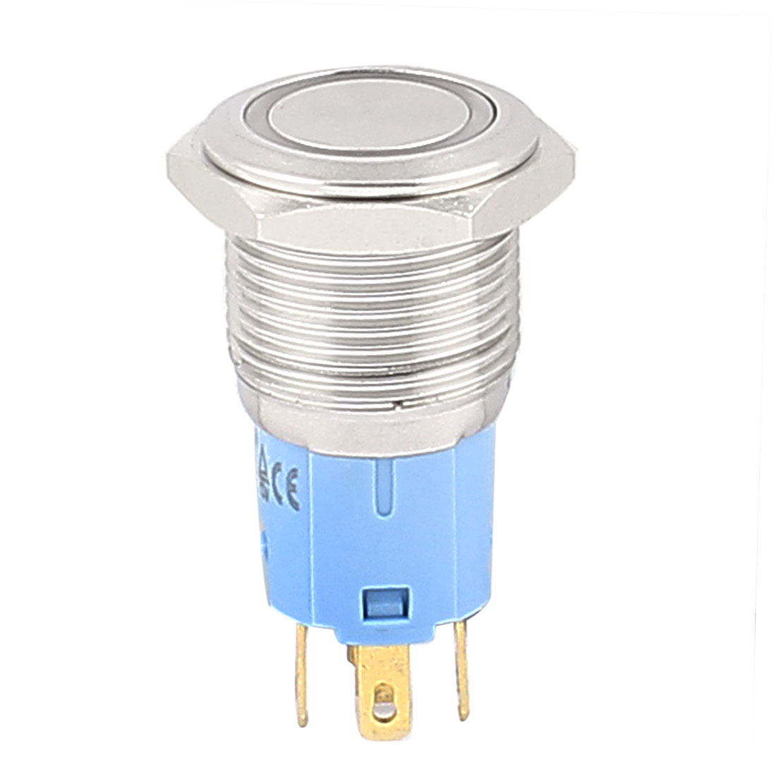 12V 16mm Thread Dia Yellow LED Angle Eyes Latching Metal Pushbutton Switch