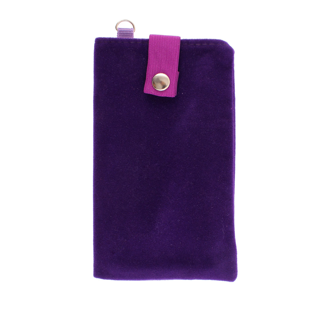 Double Layer Magnetic Clasp Button Cell Phone Pouch Sleeve Bag Dark Purple