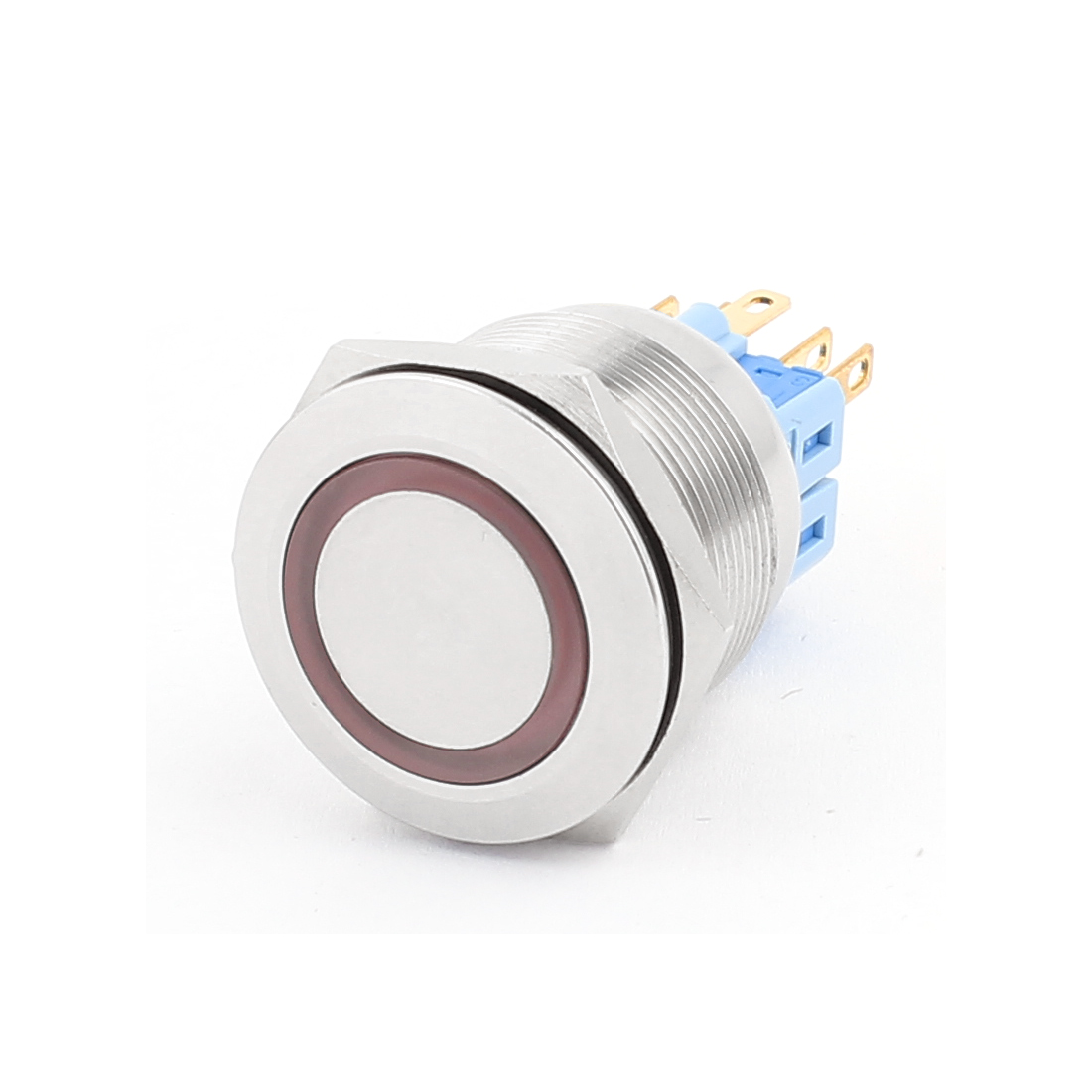 12V 25mm Dia Thread Red LED Angle Eyes Latching Metal Pushbutton Switch