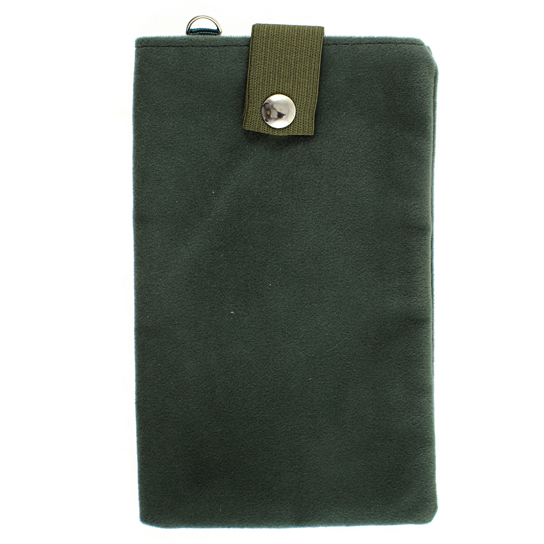 Velvet Dual Layer Magnetic Clasp Button Cell Phone Pouch Sleeve Bag Dark Green