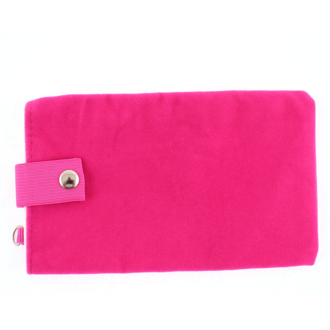 Velvet Dual Layer Magnetic Clasp Button Cell Phone Pouch Sleeve Bag Fuchsia