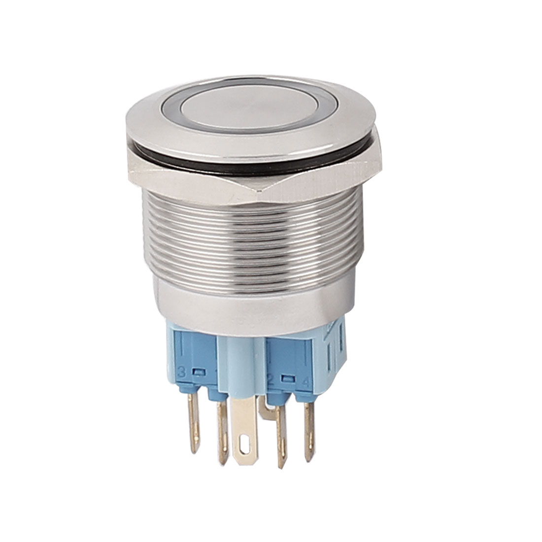 12V 25mm Dia Thread Blue LED Angle Eyes Latching Metal Pushbutton Switch