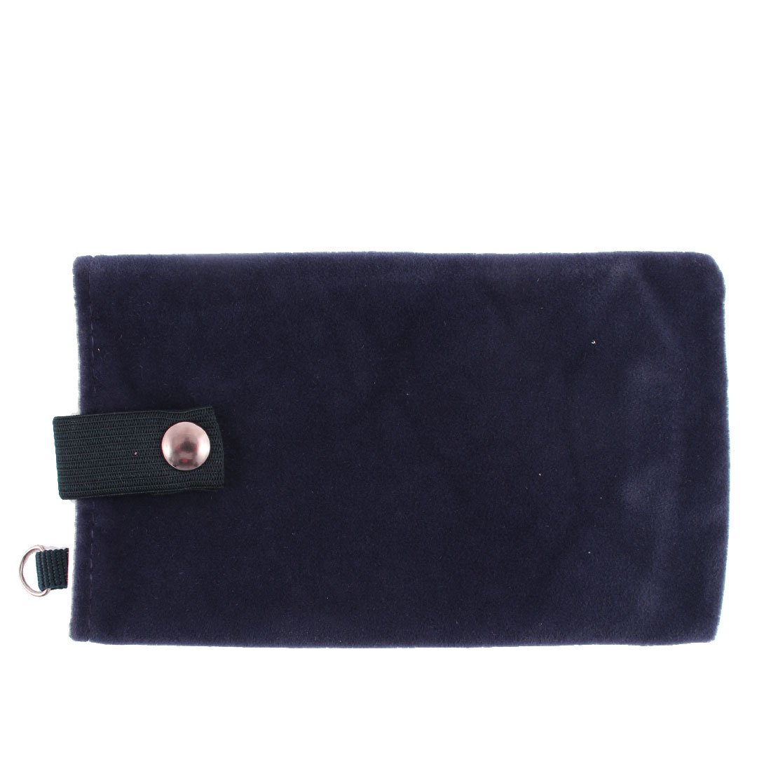 Velvet Magnetic Clasp Button Cell Phone Pouch Sleeve Bag Dark Blue 16x9.5cm