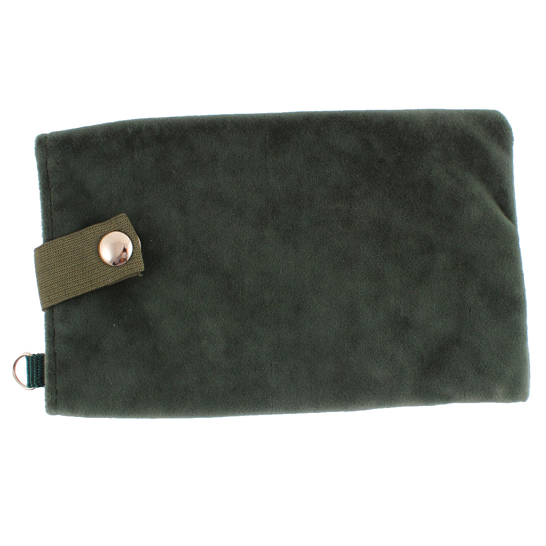 Velvet Magnetic Clasp Button Cell Phone Pouch Sleeve Bag Holder Dark Green