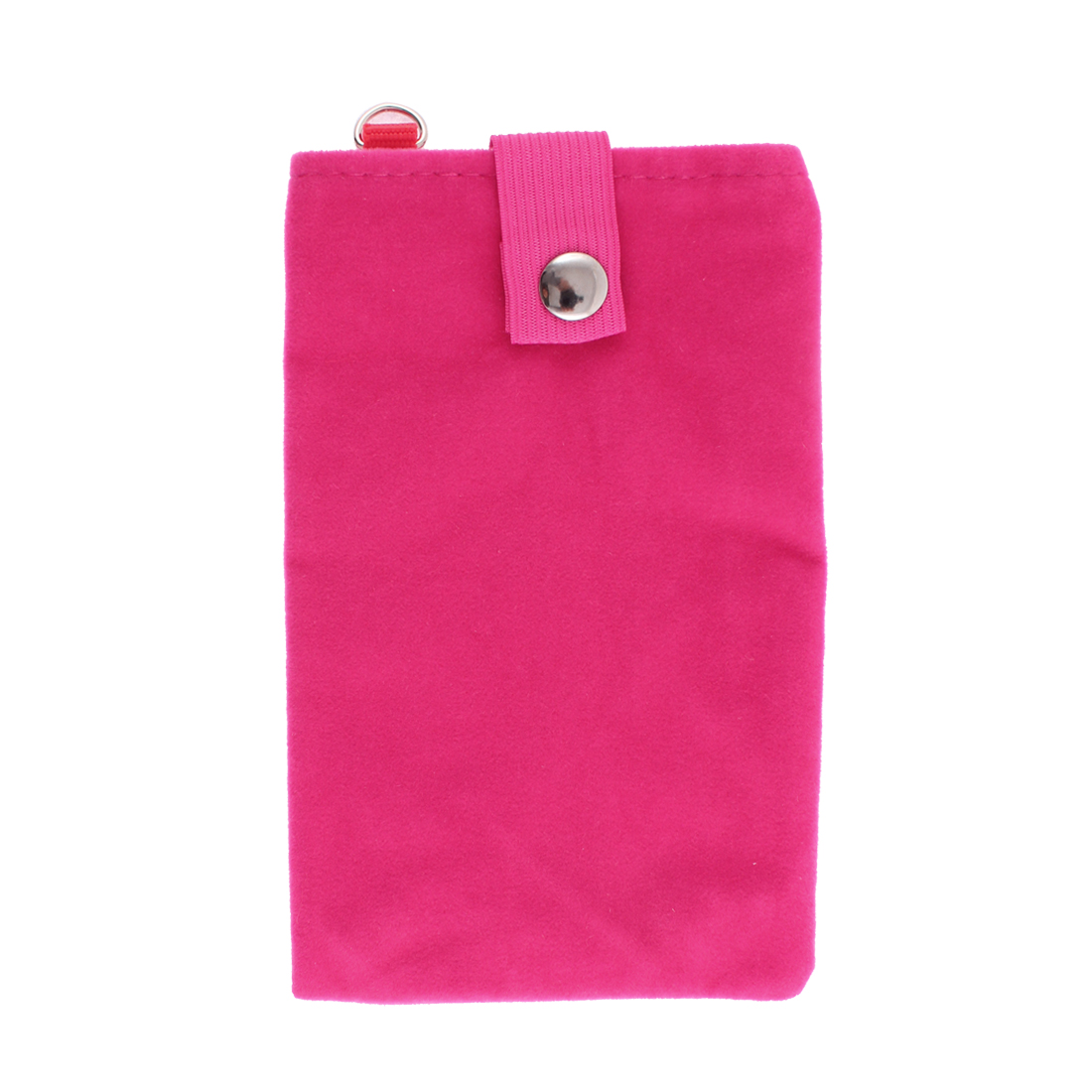 Velvet Magnetic Clasp Button Coin Cell Phone Pouch Sleeve Bag Fuchsia