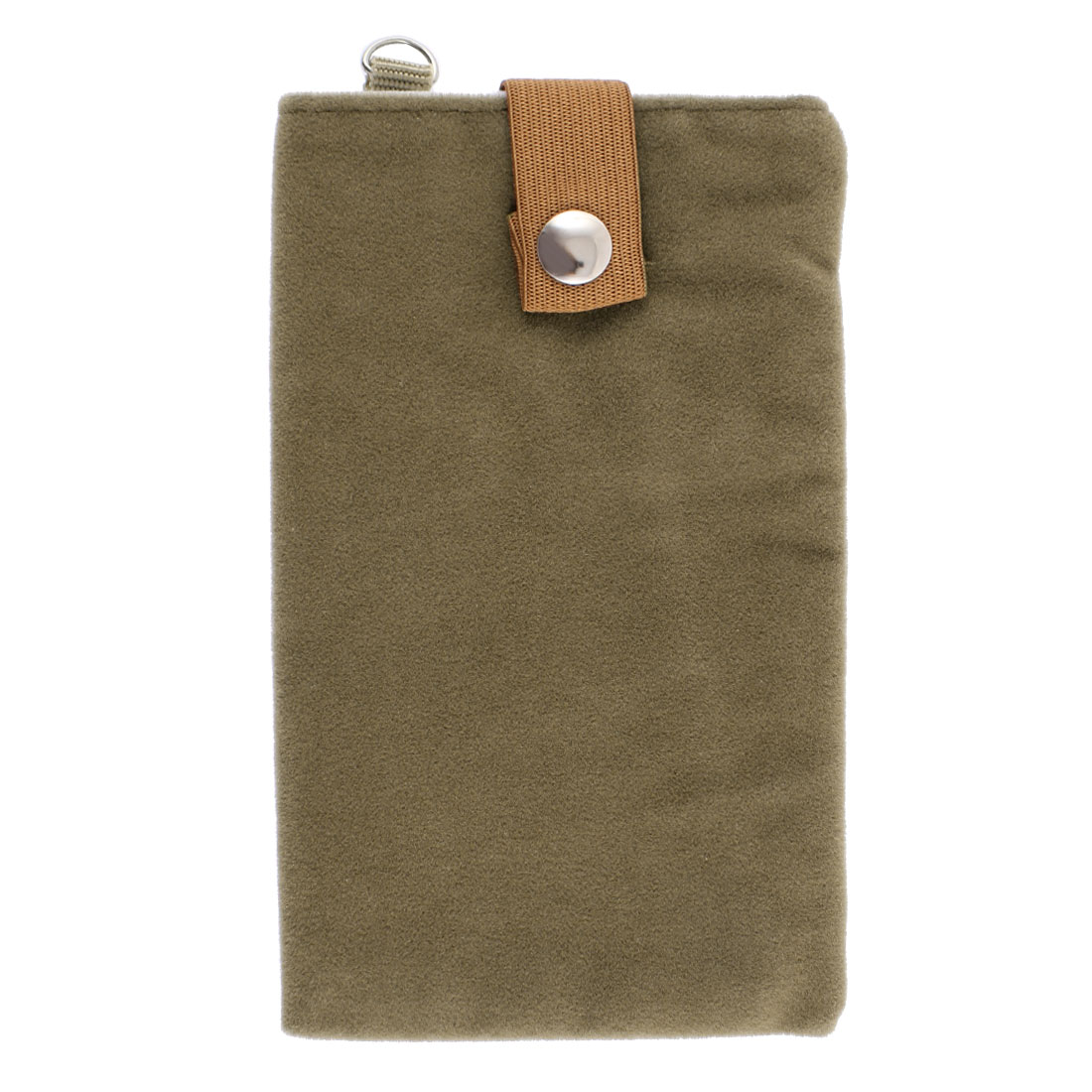 Double Layer Magnetic Clasp Button Cell Phone Pouch Bag Holder Brown