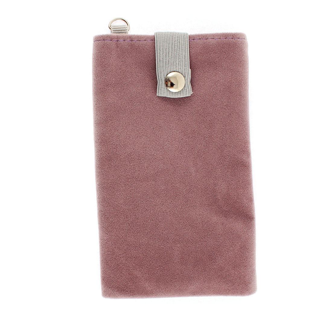 Velvet Magnetic Clasp Button Cell Phone Pouch Sleeve Bag Light Purple 16x9.5cm