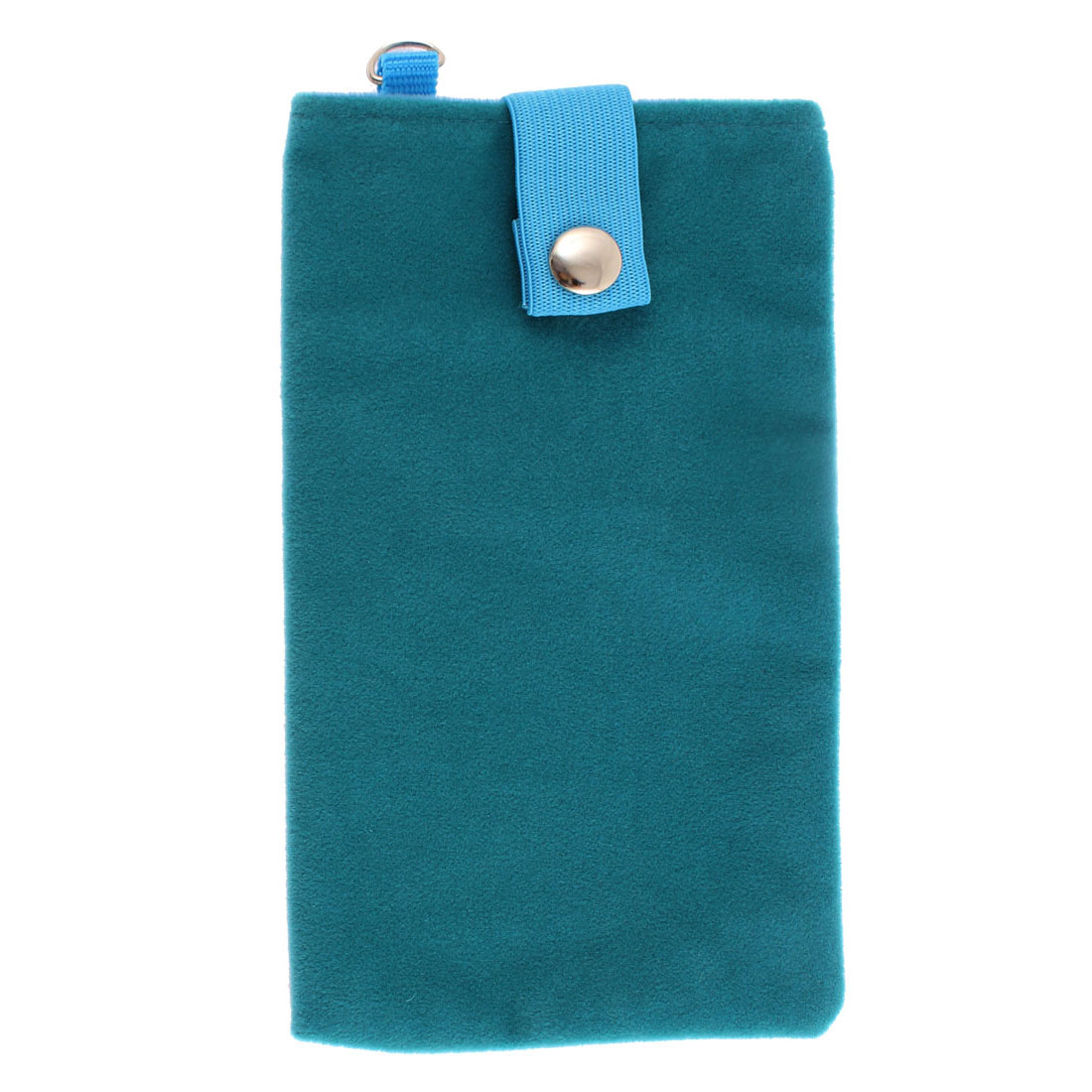 Velvet Magnetic Clasp Button Cell Phone Pouch Sleeve Bag Teal Blue 16x9.5cm