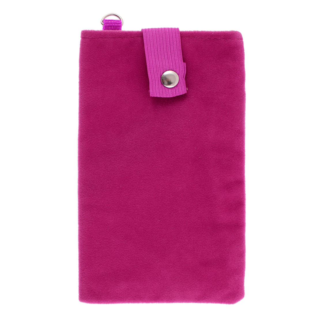 Velvet Magnetic Clasp Button Cell Phone Pouch Sleeve Bag Fuschia 16x9.5cm