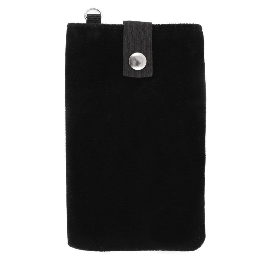 Velvet Magnetic Clasp Button Cell Phone Pouch Sleeve Bag Black 16x9.5cm