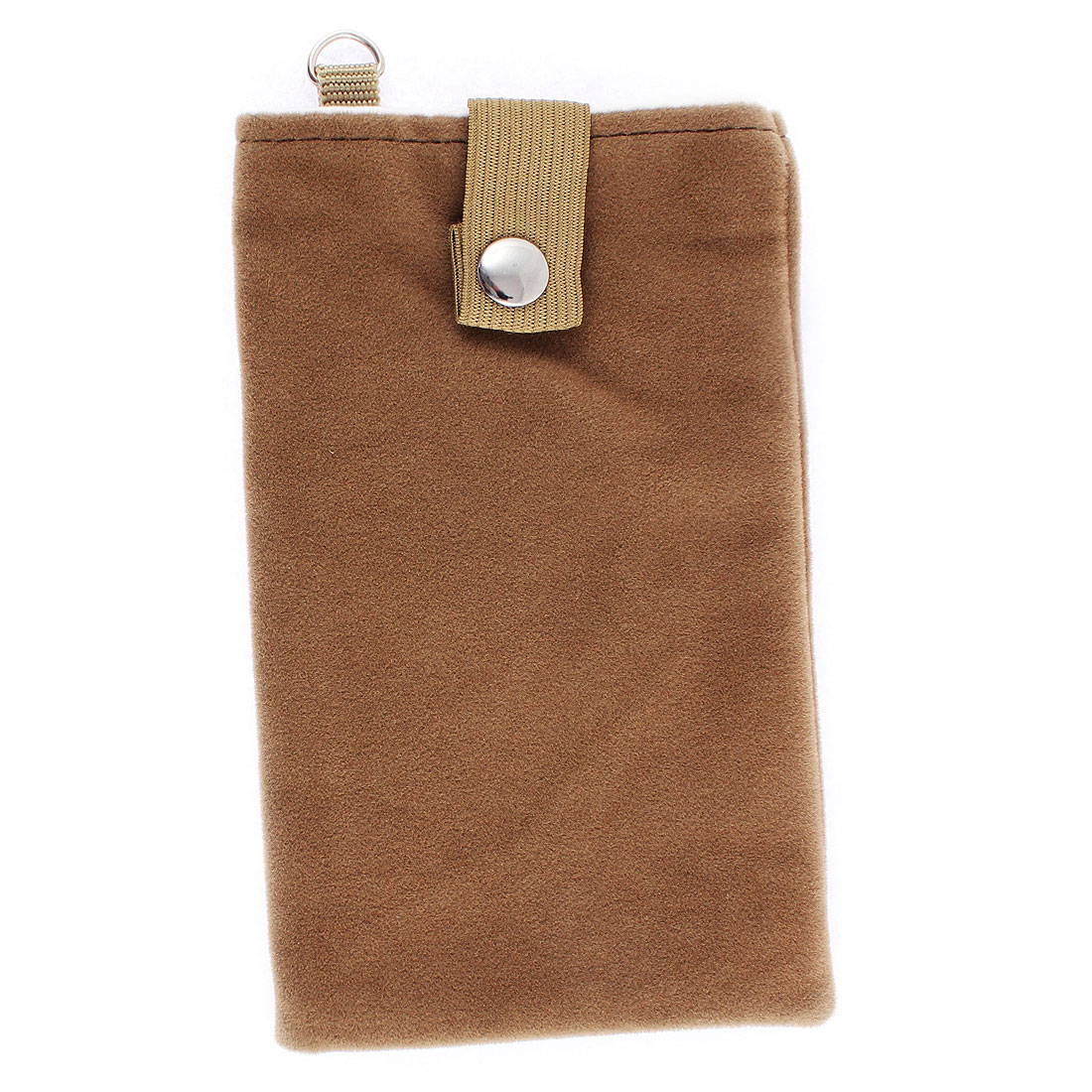 Velvet Magnetic Clasp Button Cell Phone Pouch Sleeve Bag Light Brown 16x9.5cm