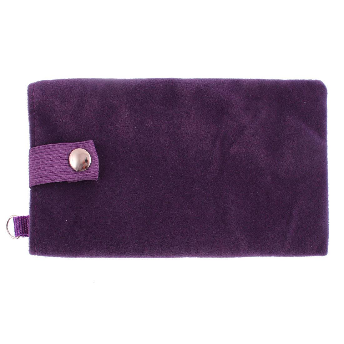 Velvet Magnetic Clasp Button Cell Phone Pouch Sleeve Bag Dark Purple 16x9.5cm