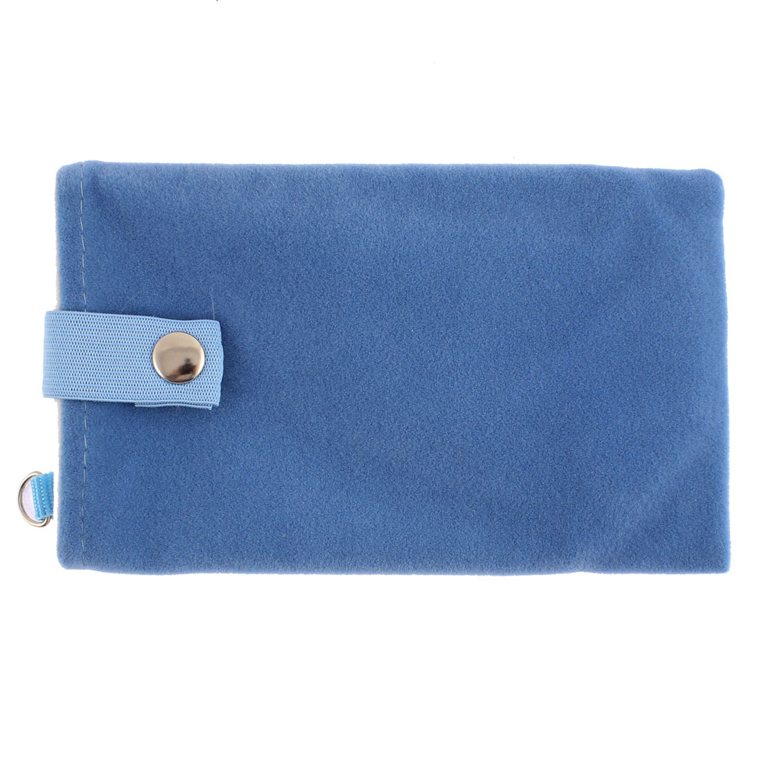 Velvet Magnetic Clasp Button Cell Phone Pouch Sleeve Bag Blue 16x9.5cm