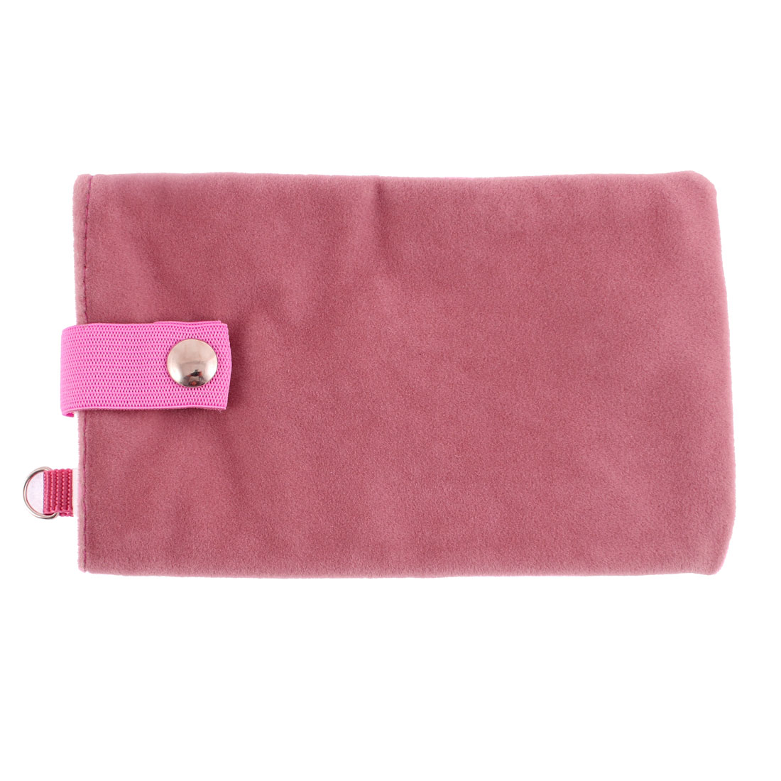 Velvet Magnetic Clasp Button Cell Phone Pouch Sleeve Bag Pink 16x9.5cm