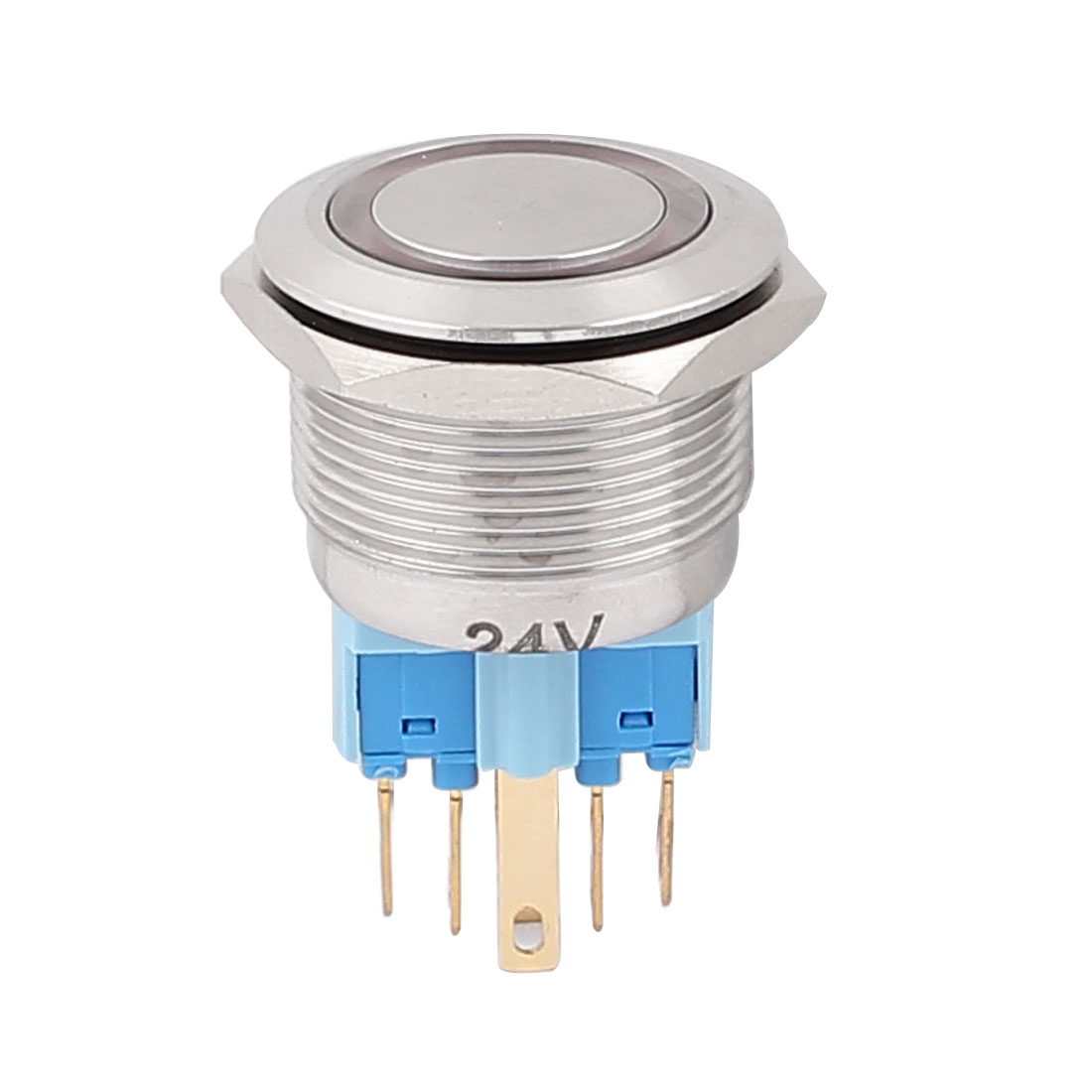 24V 22mm Thread Dia Red LED Angle Eyes Momentary Metal Pushbutton Switch